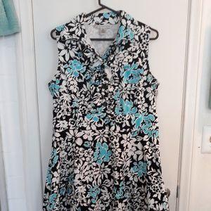 AA Studio Midi Dress Aqua/Black/White Size 14